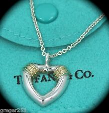"""Vintage Tiffany & Co Silver and 18K Gold Heart Necklace *RARE* 18"""" Chain"""