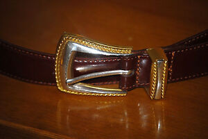 80s FOSSIL burgundy dark red leather Ornate buckle Western dress BELT S 26 28