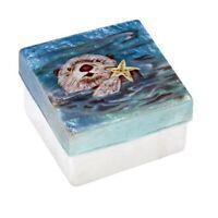 Otter with Starfish Capiz Jewelery Trinket Keepsake Box Container Sea Life New