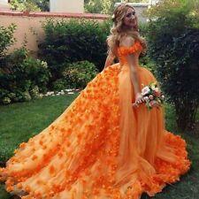 Floral Orange Quinceanera Dresses Off Shoulder Princess Sweet 16 Birthday Gown