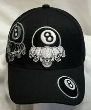 8 Eight Ball Skulls Hat Baseball Cap with Ghost Pattern