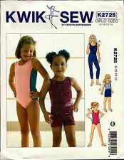 Kwik Sew Sewing Pattern K2725 2725 Gymnastics Leotard Leggings Shorts Dance 8-14