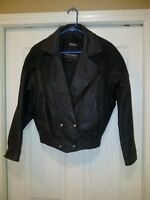 Wilsons Leather Black Coat Suede Leather Trim Zip-Out Thinsulate Lining Small