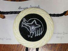 """Aborigine Mimbres Quail Design on Emu Shell Bolo Tie 42"""" Lace - New"""