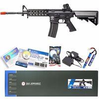 G&G Black Airsoft M16 M4 M4A1 RIS Raider Long AEG Rifle Gun W/ Battery & Charger