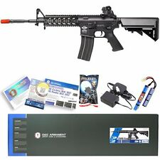 G&G Black Airsoft M16 M4 M4A1 RIS Raider Long AEG Rifle Gun W/ Battery & Charger
