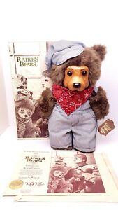 Robert Raikes LIONEL Railroad Engineer Bear Wooden Face Feet Signed Tag Box COA