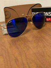 Ray-Ban Sunglasses Aviator Gold Frame Blue Mirror Flash Lens RB3026 112/17 62mm