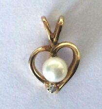 10K Fo Oro Amarillo Natural Perlas Forma Corazón Mujer Charm Colgante Diminuto