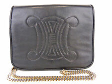 AUTHENTIC CELINE BLACK LOGO STITCH LEATHER x CHAIN SHOULDER BAG MADE IN ITALY