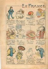 Humour Bonheur Français Pâtes d'Italie Homard à l'Américaine Fromage Suisse 1930