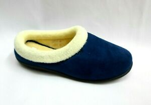 LADIES NAVY MEMORY FOAM WARM INDOOR AND OUTDOO RUBBER SOLE  SLIPPER MULES