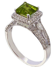 14K WHITE GOLD CUSHION CUT PERIDOT AND DIAMOND DECO ANTIQUE BRIDAL RING 2.75CTW