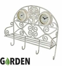 Garden Thermometer & Clock Wall Mount shelf outdoor present gift hooks tools new
