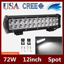 12inch 72W CREE LED Light Bar Work SPOT Driving Lamp Fit Jeep Truck 4WD Ford ATV