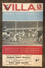 Aston Villa v West Ham United Programme February 1966