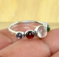 Natural Multi- Gemstone 925 Sterling Silver Designer Handmade Ring ,Best Gift