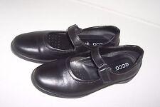 Ecco Womens Black Leather Mary Jane Slip On Flat Shoes w Hoop & Loop Closure