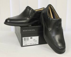 Mens Bostonian Tifton Step Dress Loafers Slip-On Shoes Black Leather # 26120743