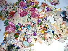 25594 ca 300 Aufnäher alte ungebraucht Figuren Blumen Sticker Seide Werbung