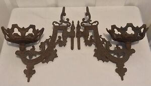 Antique Victorian Pair of Cast Iron Swivel Wall Mount Oil Lamp Holders Sconces