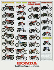1974 HONDA LINE UP FULL LINE VINTAGE MOTORCYCLE POSTER PRINT 54x42 HUGE