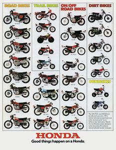 1974 HONDA LINE UP FULL LINE VINTAGE MOTORCYCLE POSTER PRINT 36x28 9MIL PAPER