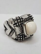 Dian Malouf White Onyx Sterling Silver Ring