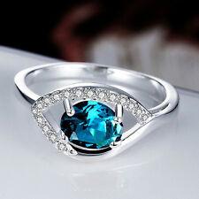 Silver Plated 925 Blue Topaz Oval Crystal CZ Eye Engagement Ring. Size Q / 8.
