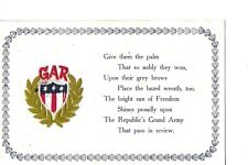 G.A.R.GRAND ARMY REPUBLIC CIVIL WAR RARE POSTCARD ADD ON SILK SEAL  ATTACHED