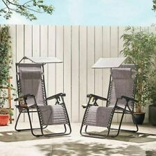 2 x Reclining Sun Lounger Outdoor Garden Patio Gravity Chair Adjustable Folding