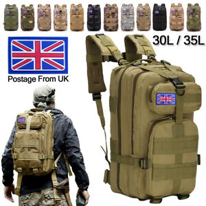30L/35L Military Army Backpack Rucksack Camping Hiking Tactical Trekking Bag UK