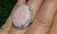 Fire Opal Hot Women 925 Silver Birthstone Proposal Wedding Jewelry Ring Size5-10