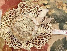 Vintage Crocheted Doll Bonnet for Antique Bisque or Early Doll, See Ruler