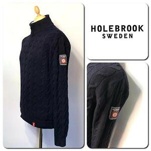 HOLEBROOK SWEDEN Men's 100% Cotton Zip Neck Slim Fit Jumper Size M