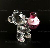 RARE Retired Swarovski Crystal Kris Bear Pink Cupcake 5004484 Birthday Mint