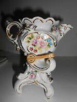 Vintage Ucagco Ceramics Japan Vase Victorian Banjo Floral Gold Trim Teapot Shape