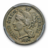 1886 3CN Three Cent Nickel PCGS PR 45 Proof Key Date Circulated Coin