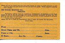 Cook Watch Company-Chicago-Vintage Advertising Postcard Consignment Postal Card