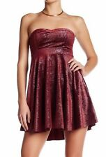 Free People Shatter Velvet Sparkle Berry Red Dress Top Pockets M 8 10 $98 NWT