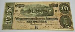 1864 Confederate Currency $10 Note Bill Civil War Nice