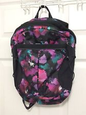 New With Tag Lululemon Run All Day Backpack Midnight Bloom Black Deep Fuschia