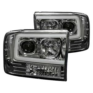 For Ford F-250 Super Duty 99-04 Chrome LED DRL Bar Halo Projector Headlights
