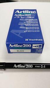 Artline 200 BLACK 0.4mm Fine Line Pens x 2 Boxes