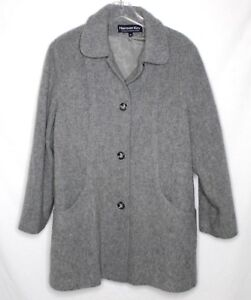 Womens Wool Blend Winter Coat by Herman Kay Size 14 Gray Pea coat