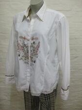 BiBA wunderschöne Bluse Hemd Gr.44-L Edel Weiß mit Motiv, Langarm & Spitze