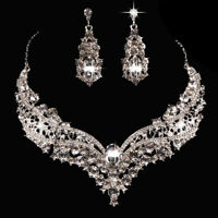 Bridal Rhinestone Necklace Earrings Jewelry Set Crystal Collar Party JewelryEP