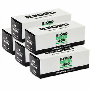 5x Ilford Delta 400 Professional 120 -  Black & White Roll Film