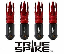 "32 TRUE SPIKE 101MM 9/16"" FORGED STEEL LUG NUTS W/ RED POSEIDON SPIKES"