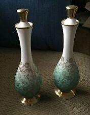 Lot 2 Vintage 1950's Porcelain Bottles Pattern #1832 Eberthal Green Gold Flowers